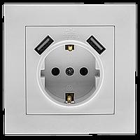 """Розетка одноместная с заземлением и двумя  USB портами серия """"ИДЕАЛ"""" ТМ""""MARSHEL"""", фото 1"""