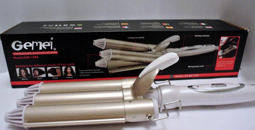 Плойка-волна тройная Gemei GM 1988 плойка для волос керамическим покрытием, фото 2