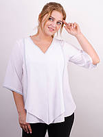 Блузка больших размеров Марина белый , фото 1