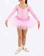 Купальник-пачка детский с длинным рукавом для выступлений Rivage Line 6112-L розовый, хлопок