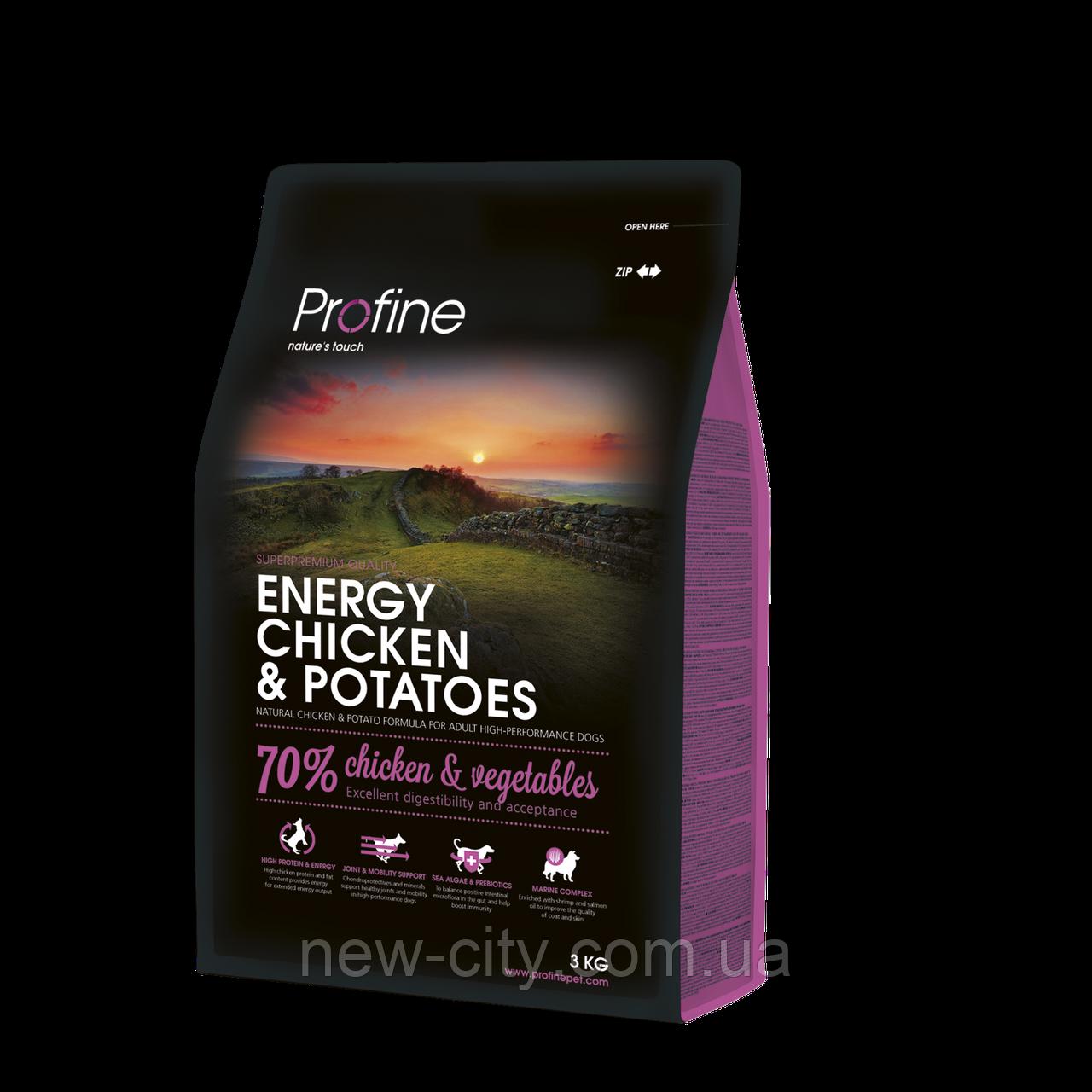 Profine Energy Chicken & Potatoes 3kg корм для собак с повышенной нагрузкой