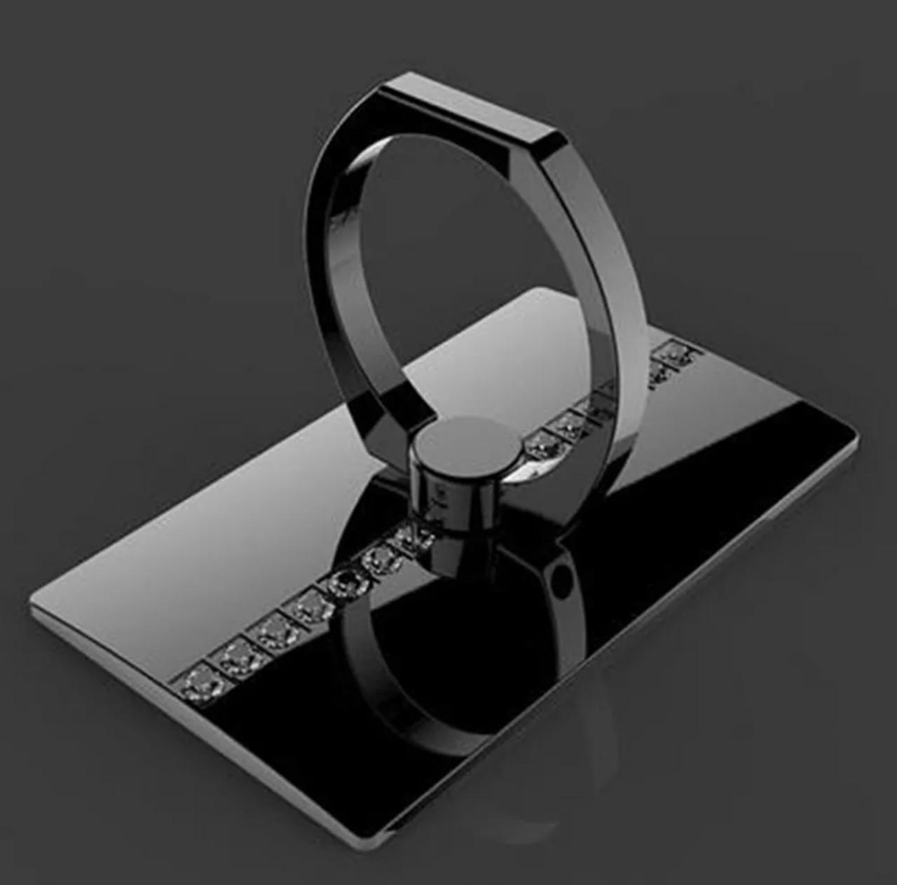 Кольцо-подставка/попсокет для телефона «Lady style» со стразами в черном цвете