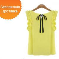 Женская шифоновая блузка с эксклюзивным вырезом в форме лотоса на шёлковом шнурке