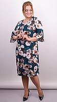 Красивое цветочное платье Оливия изумруд , фото 1