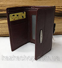Женский кошелек из натуральной кожи, складной на кнопке, три отдела, для 7 карт, фото 3