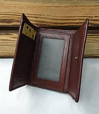 Женский кошелек из натуральной кожи, складной на кнопке, три отдела, для 7 карт, фото 2