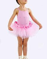 Купальник-пачка детский на бретельках для выступлений Rivage Line 6112 розовый, хлопок