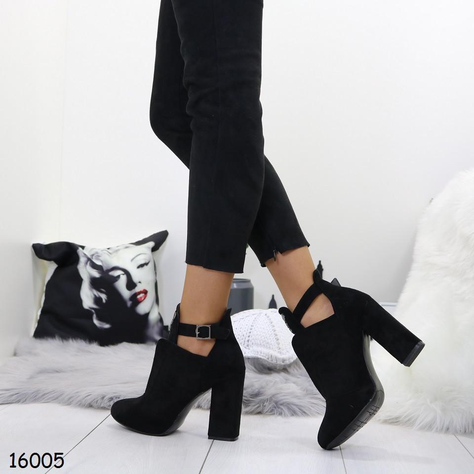 Женские ботильйоны на каблуке черные
