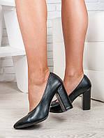 Женские туфли на толстом каблуке черная кожа 6473-28, фото 1