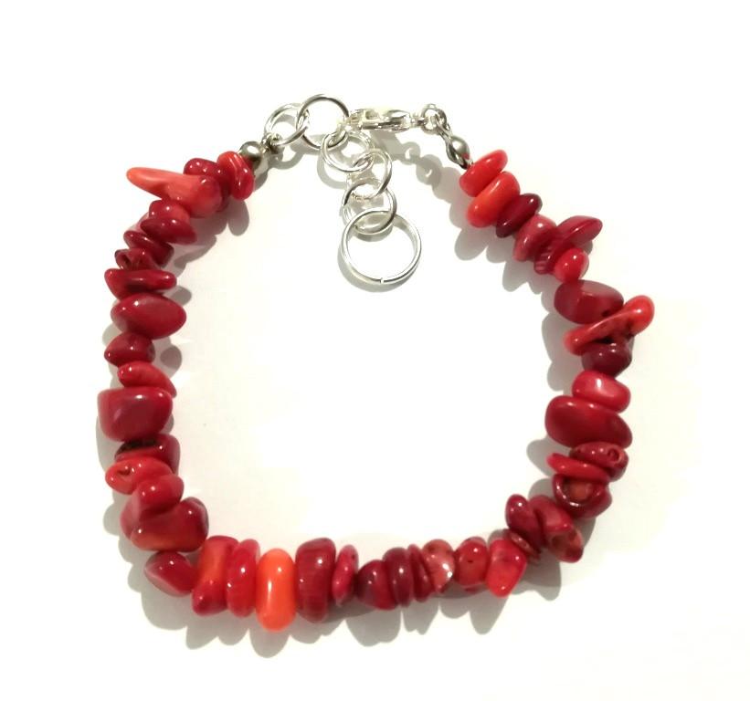 Браслет из Коралла крошка, натуральный камень, цвет красный и его оттенки, тм Satori \ Sb - 0157