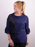 Шикарная блуза больших размеров Милана синий , фото 1