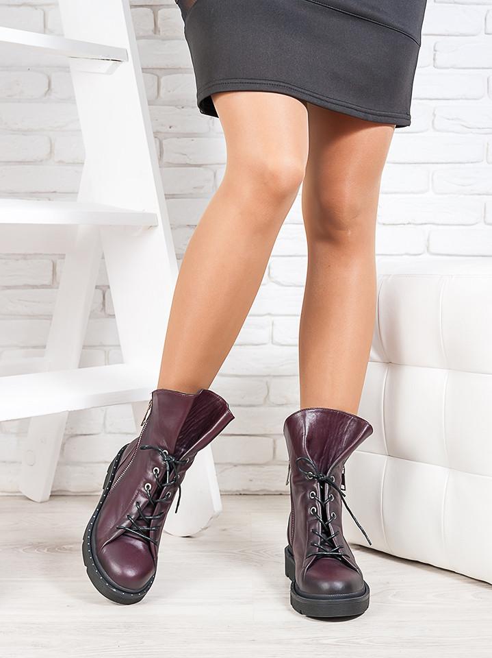 Ботинки  женские бордовые кожа натуральная весна осень
