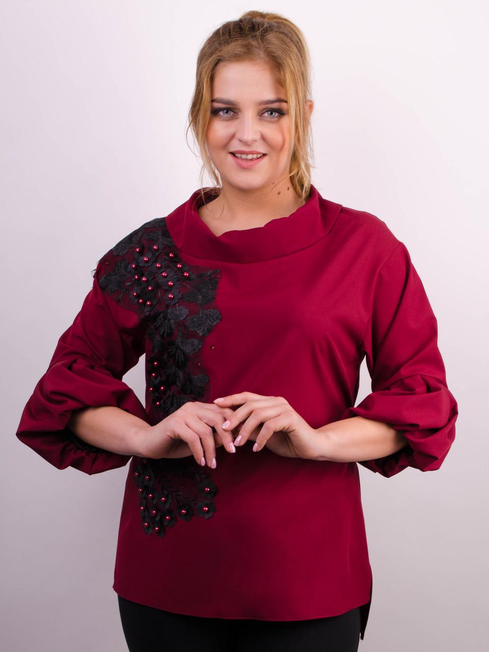 Шикарная блуза больших размеров Милана бордо