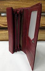 Женский кошелек из натуральной кожи темно-красного цвета, складной на кнопке, для 5 карточек, фото 2