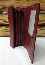 Женский кошелек из натуральной кожи темно-красного цвета, складной на кнопке, для 5 карточек, фото 3