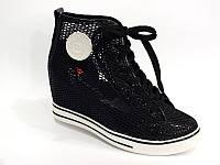Д388 - Ботиночки сникерсы женские - черные сетка