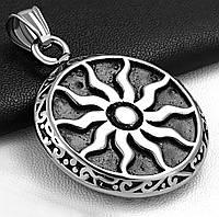 Кулон стальной мужской «Горящее солнце»
