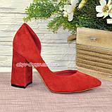 Туфлі жіночі замшеві на стійкому каблуці, фото 2