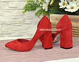 Туфлі жіночі замшеві на стійкому каблуці, фото 3