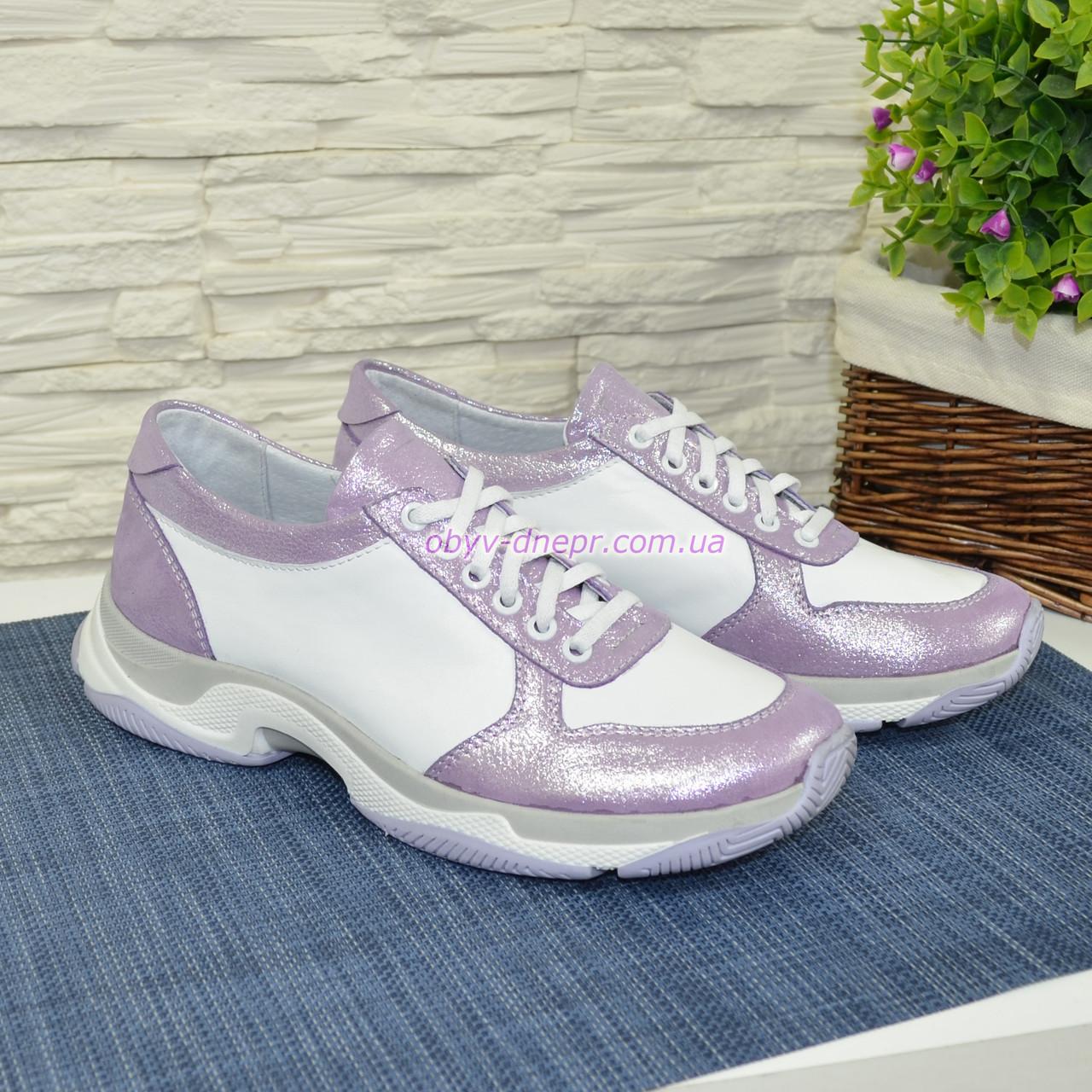 Стильные женские кожаные кроссовки на шнуровке