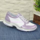 Стильные женские кожаные кроссовки на шнуровке, фото 2