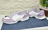 Стильные женские кожаные кроссовки на шнуровке, фото 4