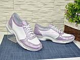 Стильные женские кожаные кроссовки на шнуровке, фото 5