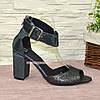Босоножки женские замшевые на устойчивом каблуке, фото 2