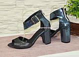 Босоножки женские замшевые на устойчивом каблуке, фото 3