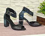 Босоножки женские замшевые на устойчивом каблуке, фото 4