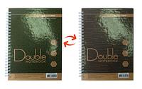 Записная книга А5 buromax bm.24571101-86 зелено-коричневая double на пружине 96 листов в клетку