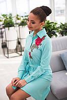 ЖІноче плаття рубашка з трояндами видовжене ззаду .Р-ри 42-48