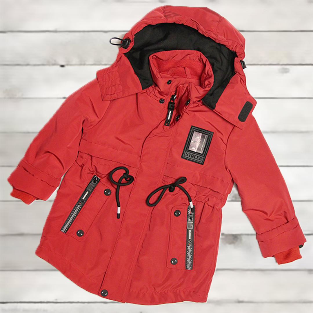 Куртка-парка демисезонная для мальчика от 3-х до 6 лет красная