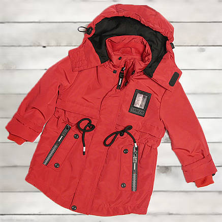 Куртка-парка демисезонная для мальчика от 3-х до 6 лет красная, фото 2