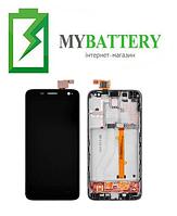 Дисплей (LCD) Alcatel 6012D Idol Mini/ 6012X с сенсором чёрный + рамка