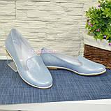 Туфли-мокасины женские кожаные на низком ходу, цвет голубой, фото 6