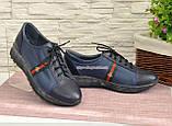 Стильные женские кроссовки на шнуровке, из натуральной кожи синего цвета, фото 3