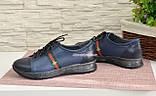 Стильные женские кроссовки на шнуровке, из натуральной кожи синего цвета, фото 4