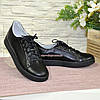 Детские черные кожаные мокасины на шнуровке, фото 4