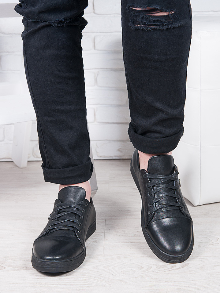 Черные мужские кожаные кеды 6907-28