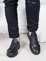 Черные мужские кожаные кеды 6907-28, фото 1