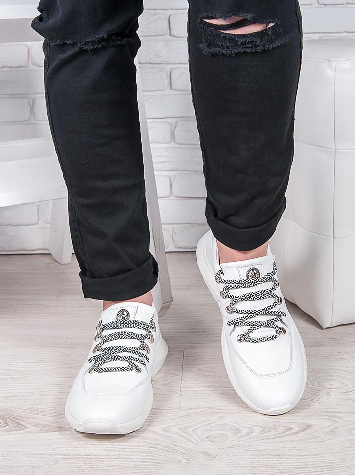 Мужские  белые кожаные кроссовки 6908-28