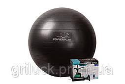 М'яч для фітнесу PowerPlay 4001 65см Чорний + насос