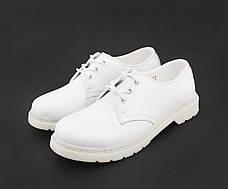 Мужские кожаные полуботинки/туфли в стиле Dr. Martens 1461 Mono White , фото 2