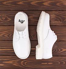 Мужские кожаные полуботинки/туфли в стиле Dr. Martens 1461 Mono White , фото 3