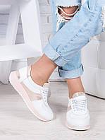 Женские кроссовки натуральная кожа белый амарант Лола 6916-28