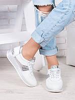 Женские кроссовки натуральная кожа белые с серебром Лола 6917-28