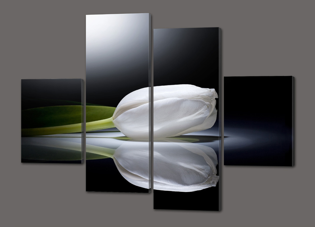 Модульная картина Белый тюльпан. Хай-тек 120*93 см  Код: 445.4к.120