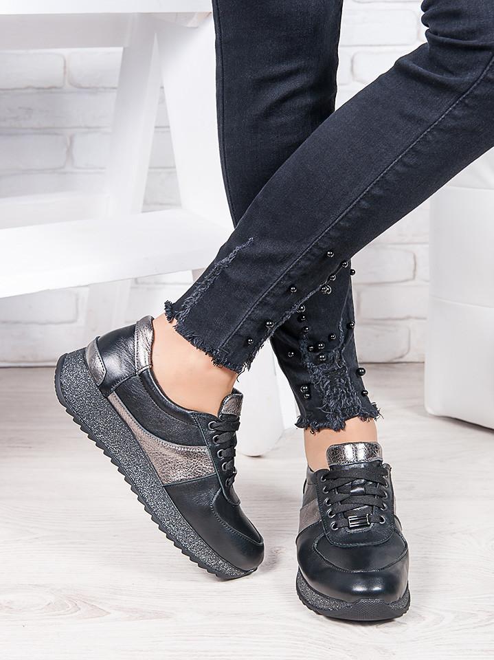 Женские кроссовки натуральная кожа черный графит Лола 6921-28