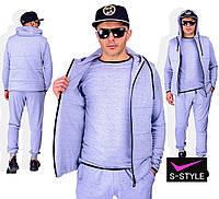 Мужской спортивный костюм тройка 44-56 р серый